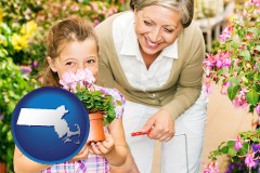 massachusetts map icon and a grandmother and her granddaughter at a garden center