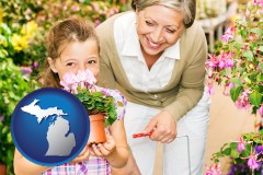 michigan map icon and a grandmother and her granddaughter at a garden center
