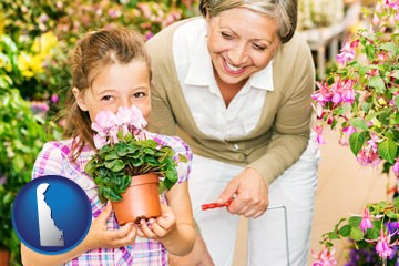 a grandmother and her granddaughter at a garden center - with Delaware icon