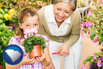 a grandmother and her granddaughter at a garden center - with South Carolina icon